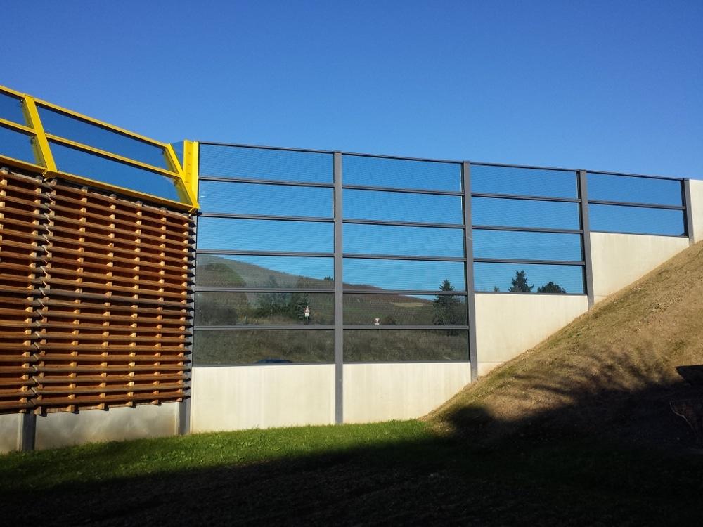 Lärmschutzwand, Holz + Beton + Acryl/Glas, Rheinland-Pfalz